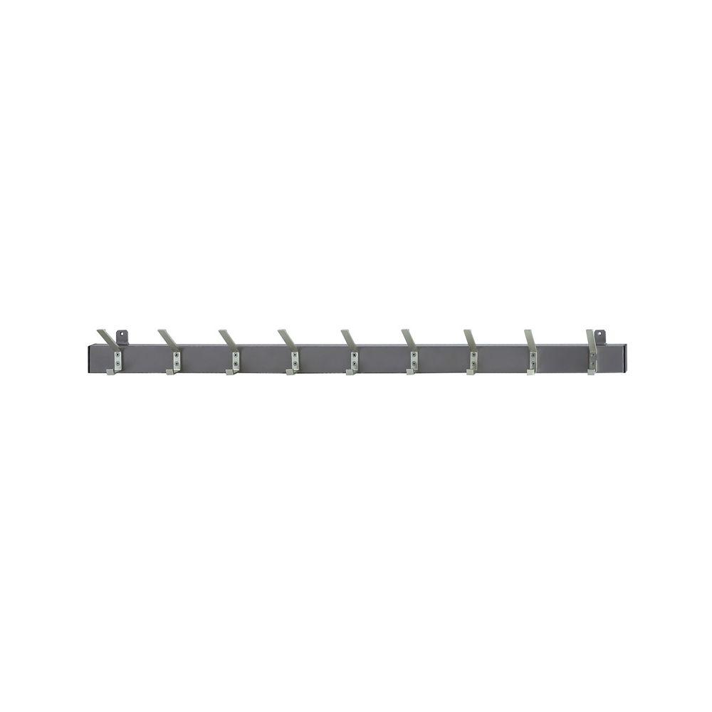 Basic wandkapstok 138cm met 9 dubbele haken - grijs