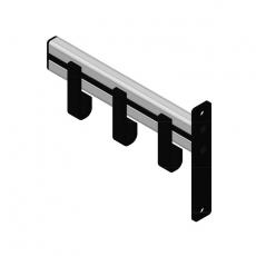 Basic Pro-line wandgarderobe met 3 kledinghangers - grijs/zwart